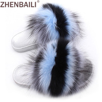 ZHENBAILI Size 36 43 Women Sandals Summer Fashion Striped Fuzzy Faux Fur Flat Slippers Silver Sole Ladies Slides 11 Colors