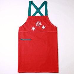 Długi czerwony bawełniany fartuch świąteczne dekoracje do domu BBQ ubrania imprezowe Cafe Restaurant Bistro Holiday Barista Catering Uniform B21 w Fartuchy od Dom i ogród na