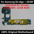 Versión de la ue para samsung galaxy s6 edge plus g928f motherboard mainboard original desbloqueado con chips de imei os buena placa lógica
