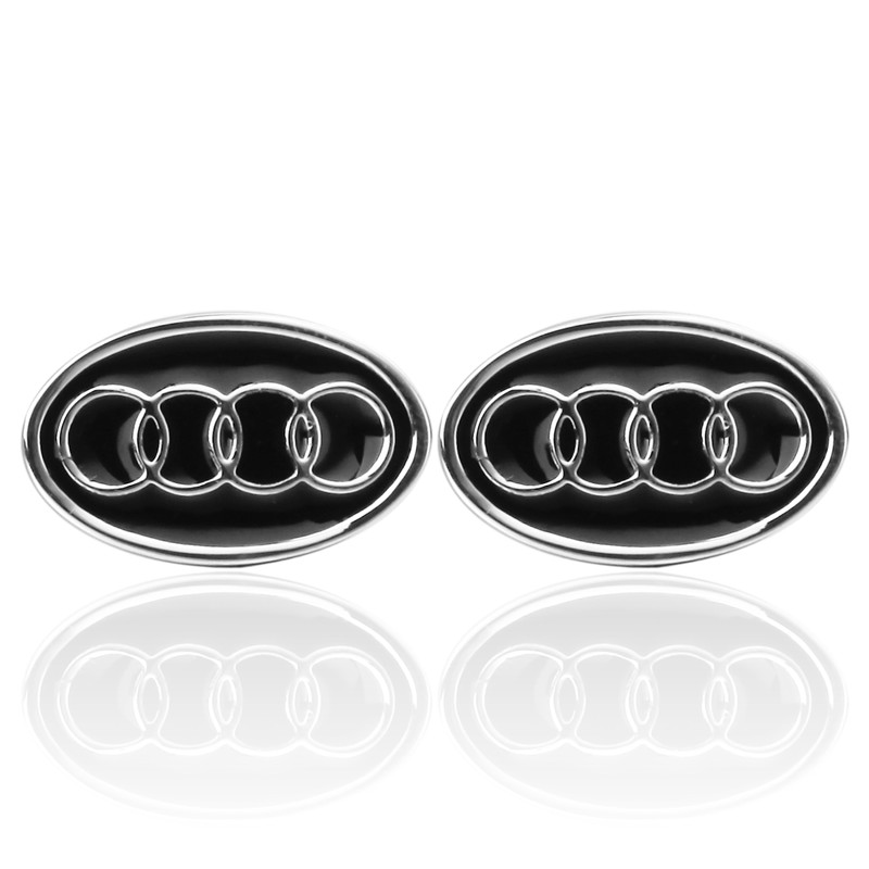 KC-5 Luxury shirt Black Audi Car cufflink for mens Brand cuff buttons cuff links High Quality Silver abotoaduras Jewelry