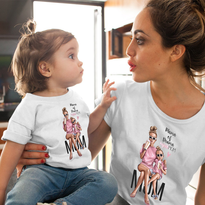 ZSIIBO Female T-Shirt Family Matching Mom Daughter Girls Clothes T-shirt Tee Korean Fashion Harajuku Kawaii White Tshirt CX6L201