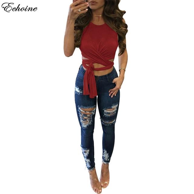 detailed look 712ce 26aeb Echoine Sexy Lace Up Senza Maniche Camicetta Camicie Donna Top Fashion  Camicette Elegante Croce O Collo femminile Breve Grigio Rosso Nero Blusas  in ...