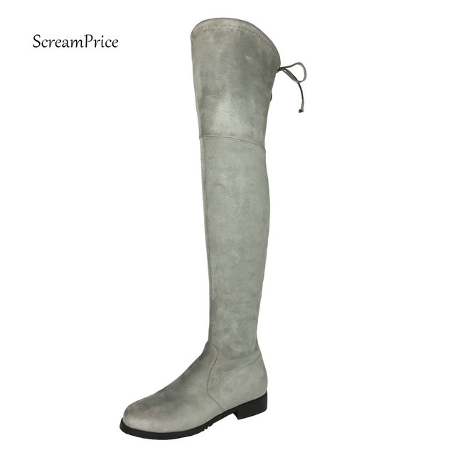 Thigh High Flat Boots Women Over the Knee Boots Comfort Fall Winter Faux Suede Boots Fashion Shoes Woman Black Dark Gray Wine