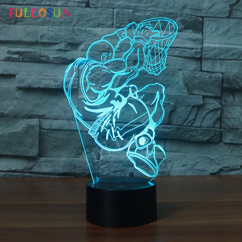 Play Basketball 3D Lamp 7 Colors Change LED Night Lights Baby Gift Touch-sensing Switch 3D Table Lamp for Home Creative Decorati