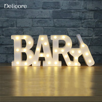 DELICORE New 30 LEDS Conjoined Letter Shaped Night Lamp Mini Battery Warm White Light Bars Decoration Wall Hanging S170