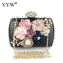 YYW Women Flower Clutches Evening Bags Handbags Wedding Clutch Purse Black Prom Party Wedding Cocktail Clutch Purses With Pearls brand travel purse acrylic stone totes prom evening bag clutch wallet fashion women handbags party day clutches wedding bags top