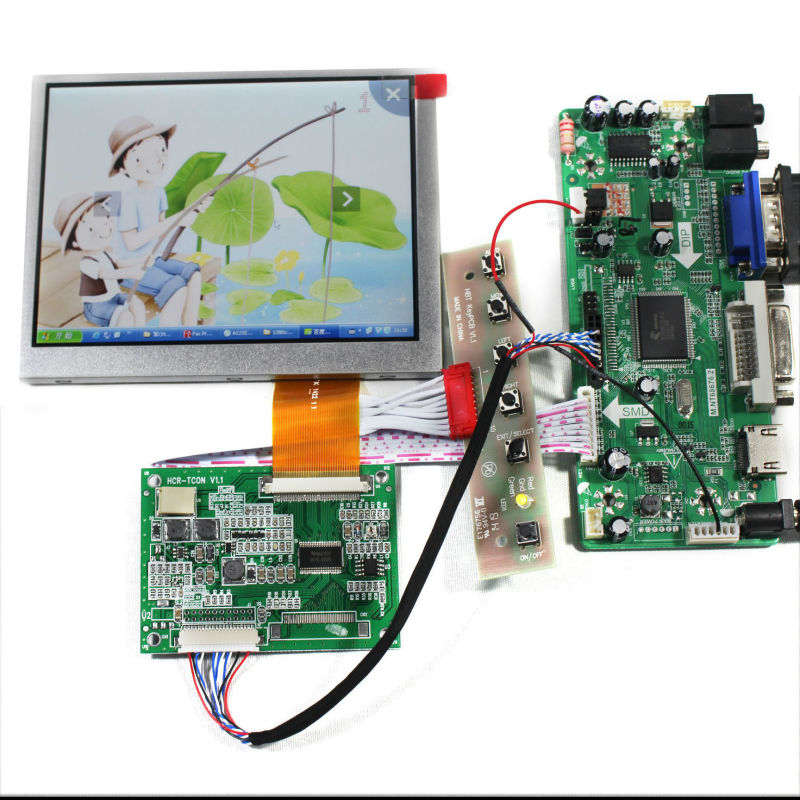 HDMI+DVI+VGA+Audio Lcd Control board+5.6inch AT056TN52 640*480 Lcd panel hdmi dvi vga audio lcd control board for 12 1inch lq121s1lg75 800 600 lcd panel