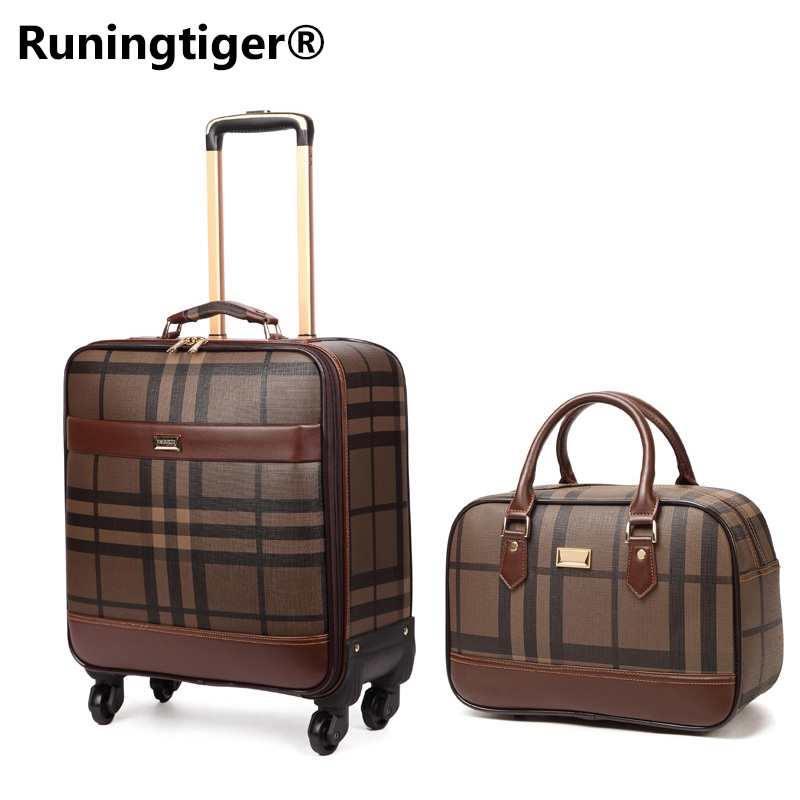 цена на Luxury Men Women 's Travel Luggage Set Suitcase ,Waterproof PVC leather Box with Wheel ,16202224 inch Rolling Trolley case