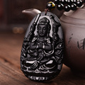 High Quality Unique Natural Black Obsidian Carved Buddha Lucky Amulet Pendant Necklace For Women Men pendants Jade Jewelry
