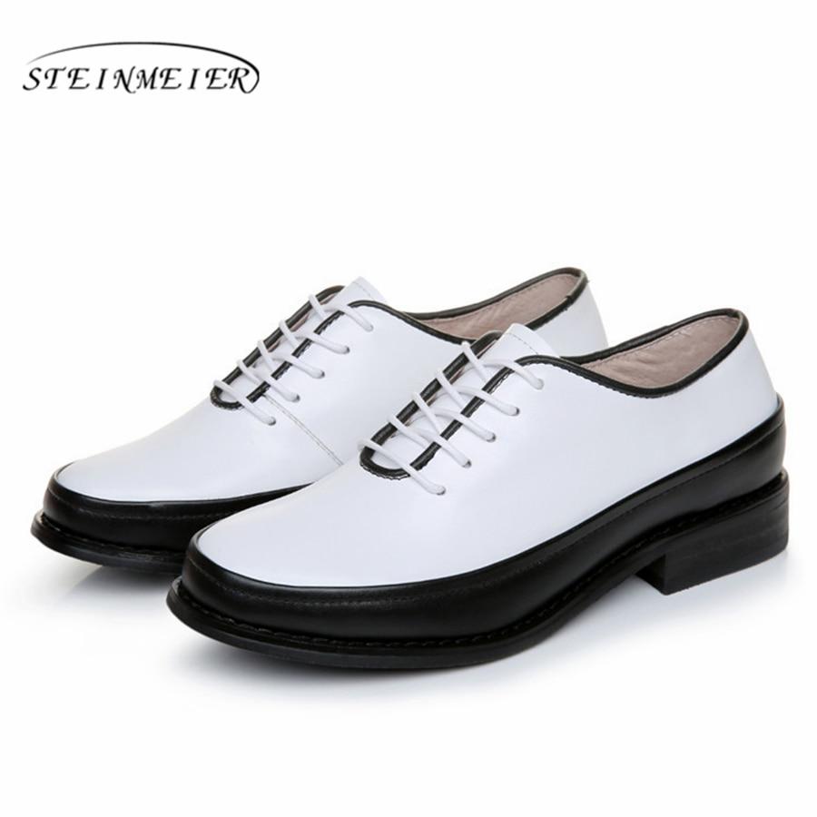 100% Echtes Kuh Leder Casual Designer Vintage Dame Wohnungen Schuhe Handmade Schwarz Weiß Oxford Schuhe Für Frauen 2018 Mit Pelz Eleganter Auftritt