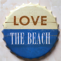LOVE THE BEACH Large Beer Cover Tin Sign Logo Plaque Vintage Metal Painting Wall Sticker Iron Sign Bar KTV Store Decorative 40CM