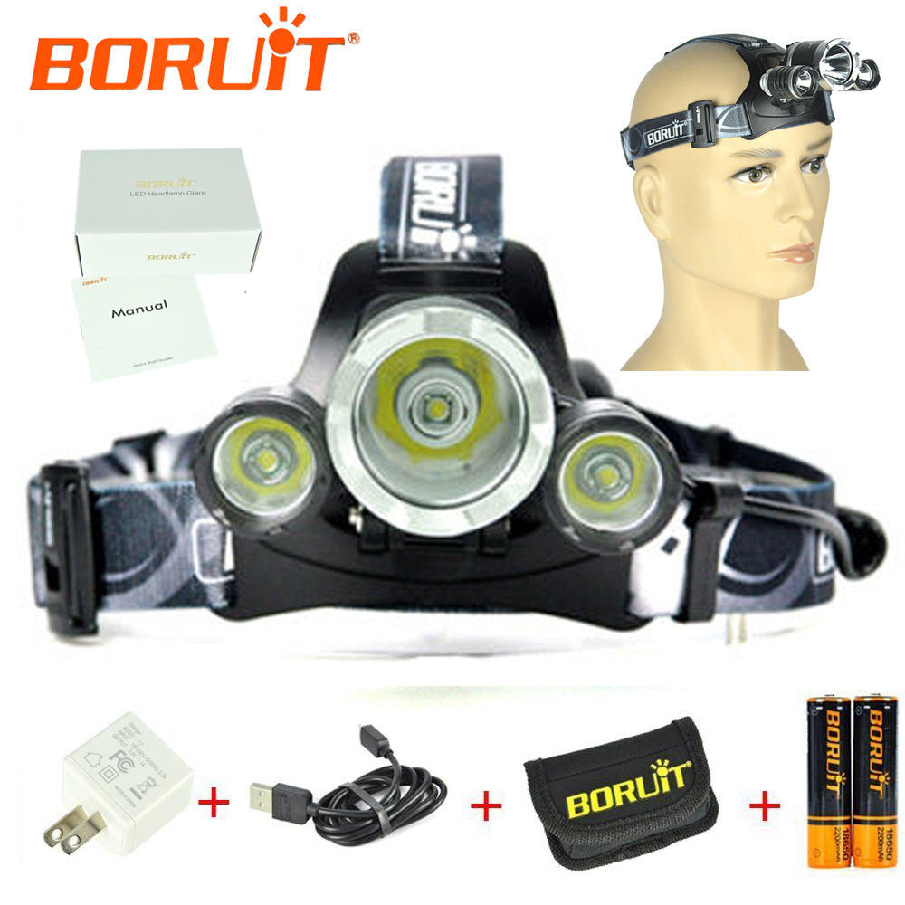Upgraded BORUiT RJ-3000 Plus Cree 3x XM-L T6 L LED Headlamp Flashlight with Battery and Charger 1430lm 4 mode white bicycle headlamp w 3 x cree xm l t6 black silver