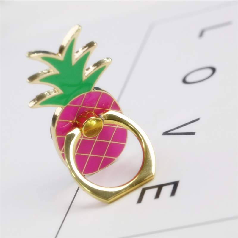 360 Degree Metal Finger Ring Jewelry Smart Phone Stand Holder Fruit Pineapple Mobile Phone Holder Stand For Iphone All Phone