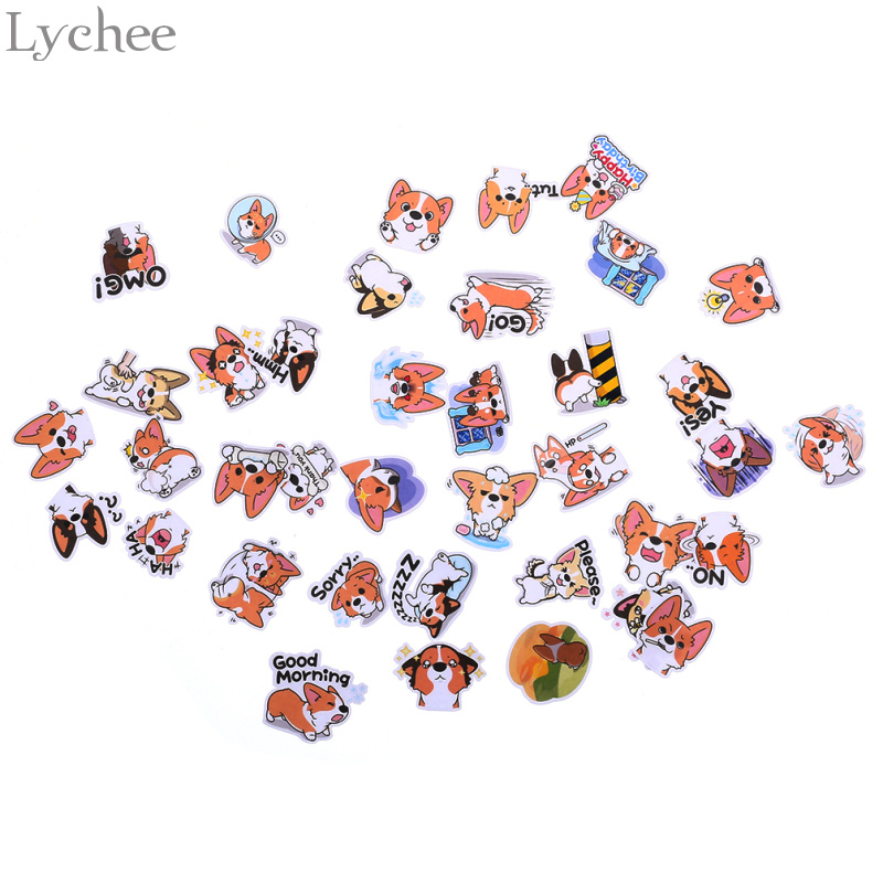 Lychee Kawaii Dog Scrapbooking Stickers DIY Handmade Crafts For Chidren Kids Cartoon Animal Sticky Notes For Birthday Party