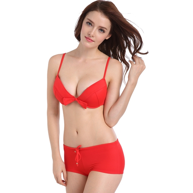 d86b3dd644 Bowknot Red Bikini Set Underwire Bra Beachwear Push Up Swimwear Adjustable  Waist-tie Two-