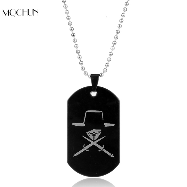 movie jewelry v for vendetta anonymous mask dog tag pendant necklace great hack hacker mask for