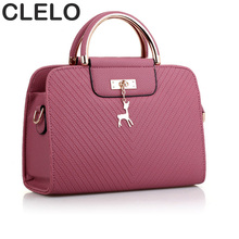 CLELO Fashion Women Shoulder Bags 2017 Casual Tote  PU Leather Handbags Designer Messenger Bags Female Solid Red Crossbody Bag