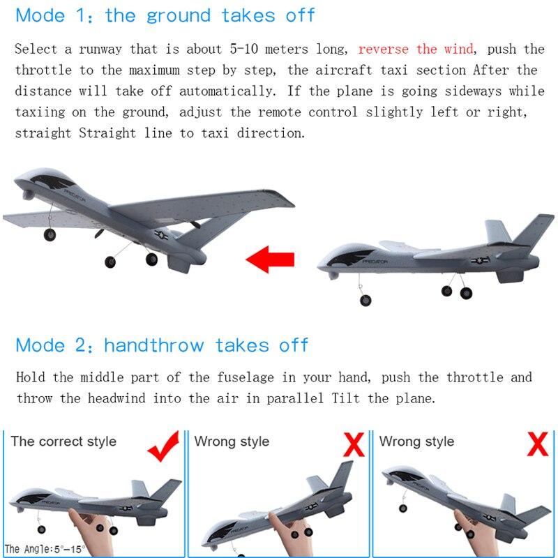 Avion RC 20 Minutes temps de vol planeur jouet avion avec LED 2.4G télécommande main lancer envergure enfants RC Jet avion mousse 4