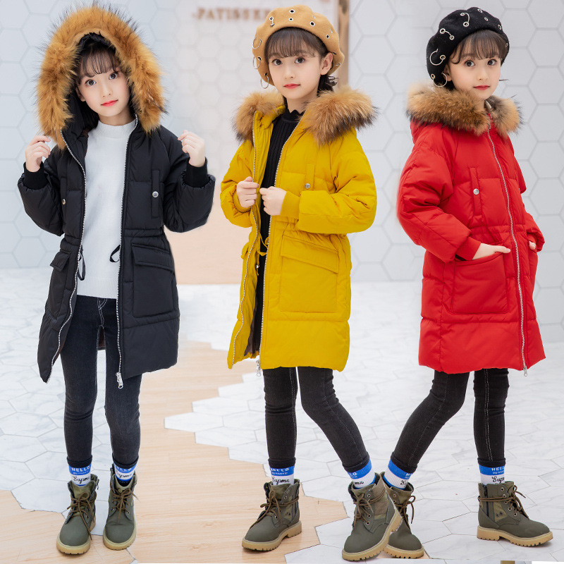 Teenage Girls Coats With Fur Hoods 2018 Padded Jacket 5-12 Years Long Winter Coat for Girls Parka Warm Thicken Hooded Outerwear 2018 girls clothing warm down jacket for girl clothes 2018 winter thicken parka real fur hooded children outerwear snow coats