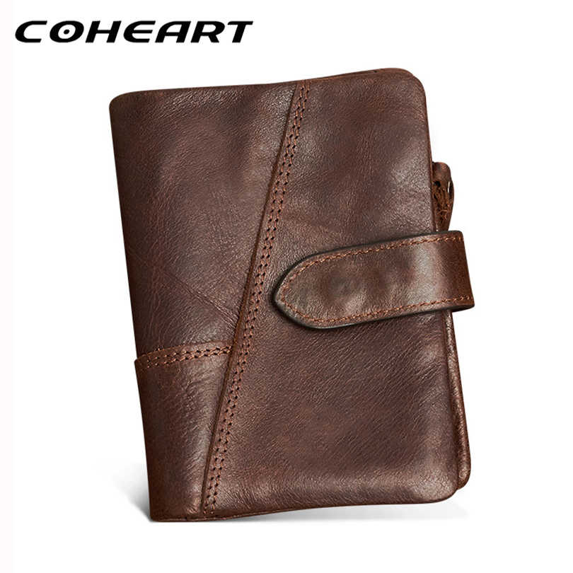 COHEART Genuine Leather Wallet Men Vintage Style Multifunction Men Wallet Purse with zipper pocket removeable cowhide male purse