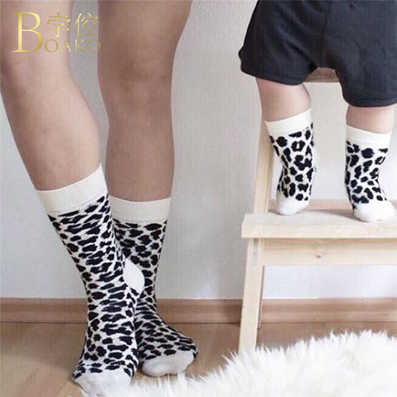 New Family Parent-Child Socks Fashion Unisex Leopard Dalmatians Pattern White Black Cotton