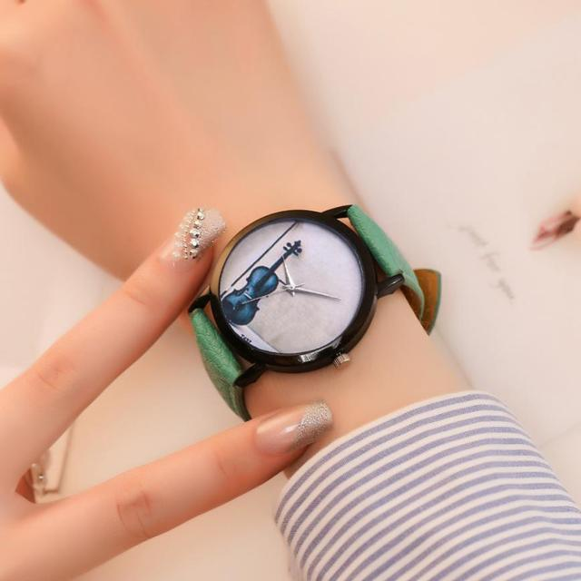 Musical Instrument Colorful Womens Quartz Watches Fancy Temperament Casual Ladies Wristwatches Simple Birthday Gifts 2018 D