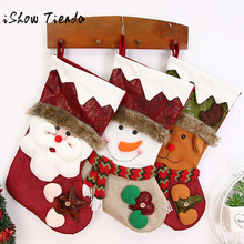 Merry Christmas Gifts Candy Beads Christmas Santa Claus Snowman Socks Decora o Christmas Decorations for Home(China)