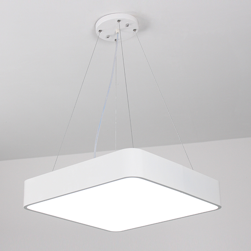 Moderne Kantoor LED Hanglampen 24 W 36 W 48 W AC85 265V Vierkante ultra dunne aluminium hanglamp Zwart /wit - 2