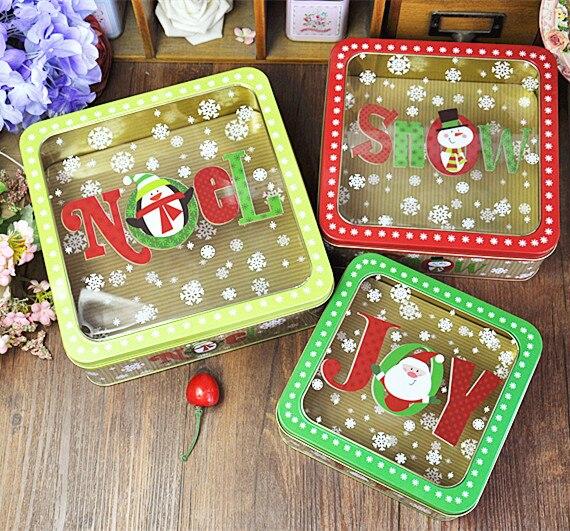 3ks / sada Vánoční styl plechová krabička Kovová úložná krabička Šperky Pouzdro Candy Box potraviny box s oknem