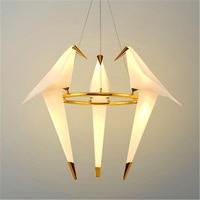 Nordic Paper Crane Metal Chandelier For Restaurant Living Room Dining Room Children's Room LED Bird Design Pendant Lamp Lighting