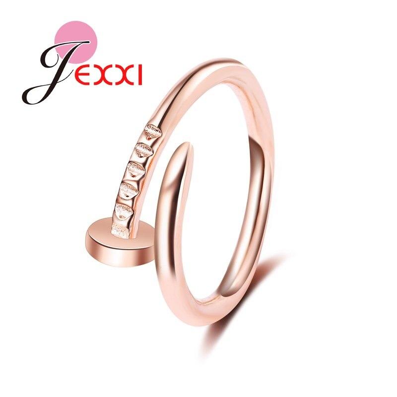 JEXXI Fashion Round Rose ColorScrew Rings For Women Vintage font b Wedding b font Ring Anilos