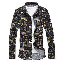 Musical instrument pattern Shirt Male Fashion Short sleeve Flower Blouse Mens Clothing Slim fit Summer