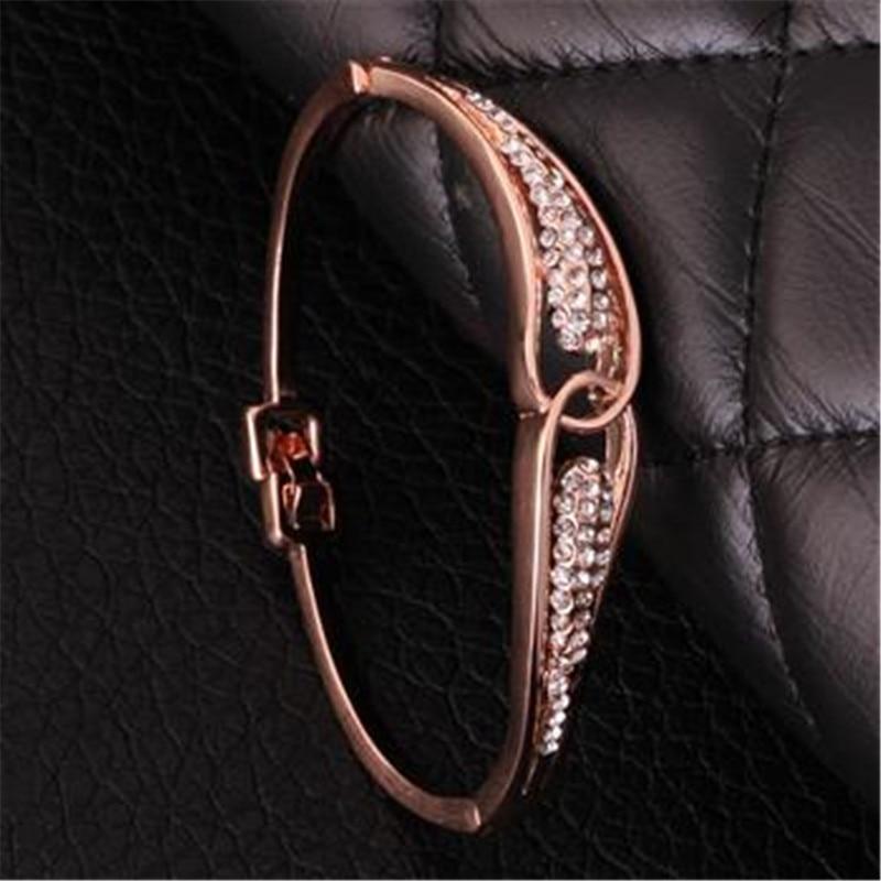 Браслет Дизайн для Для женщин Мода Сейф Пряжка Стиль изделия из розового золота Цвет ювелирные изделия Золотой Чешский drill44