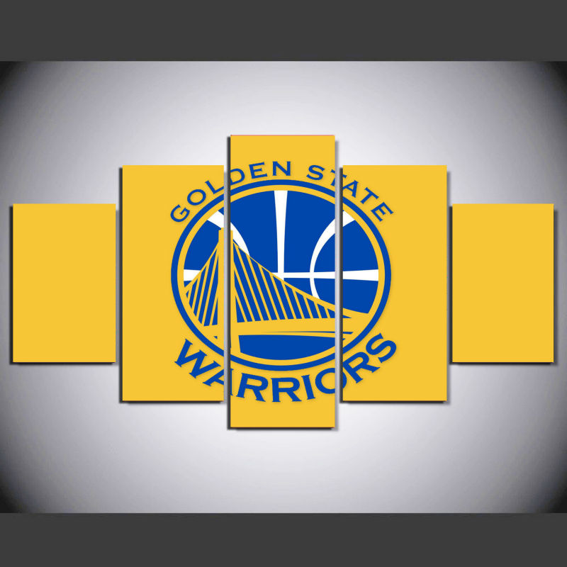 5 Panel Modular Wall Paintings Golden State Warriors Modern Oil Painting On Canvas