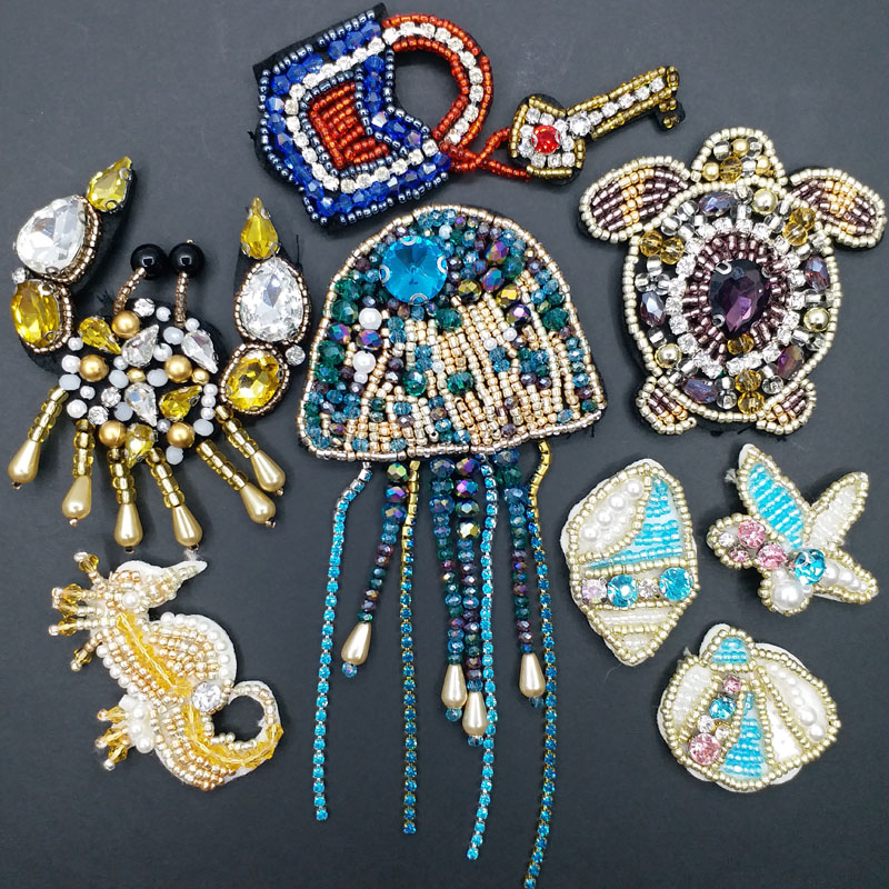 1pc sea animals beaded patches for clothing DIY Sew on rhinestone handmade patch embroidery Jellyfish parche ropa