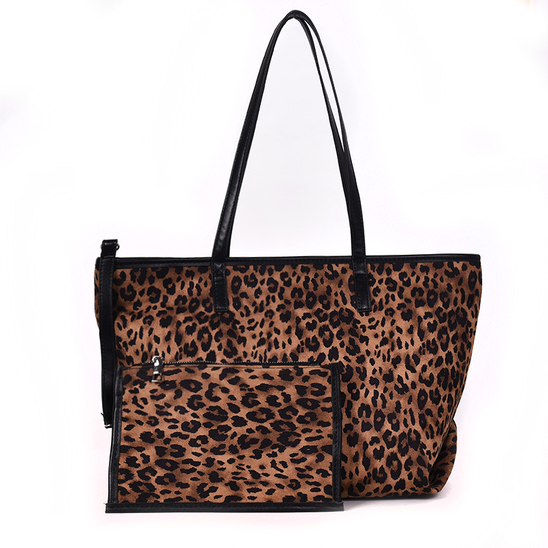 1 Set 2 Pcs Leopard Should Clutch Bag Vintage PU Leather Travel Bag Animal Tote Bag Women Bag For Ladies Carteira Feminina