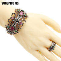 Elegance Arab Women Vintage Flower Jewelry Sets Hollow Bangle Cuff Ring Sets Antique Gold Color Indian