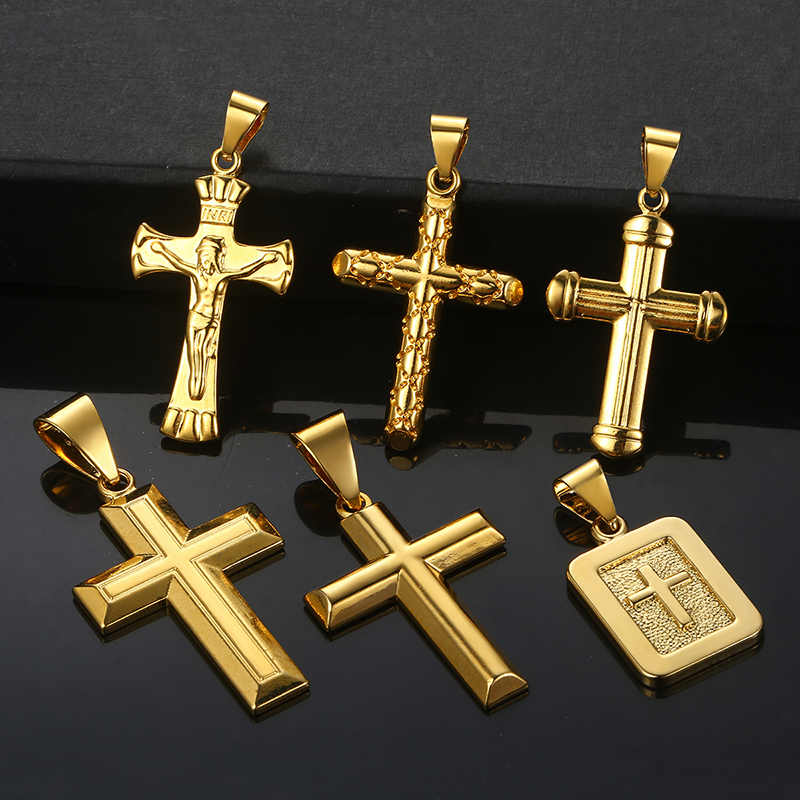 Cross Pendant For Men Women Crucifix Jesus Gold Filled Christian Pendants Mens Woman Jewelry Gifts Dropshipping Wholesale GPP01