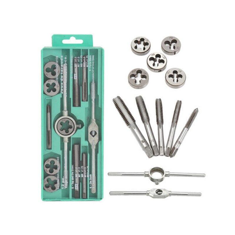 8-12pcs/set Multifunction NC Screw Tap & Die Set External Thread Cutting Tapping Hand Tool Kit With M6 M7 M8 M10 M12 Taps