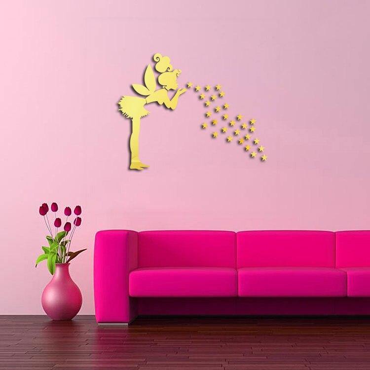 Diy Star Mirror Wall Sticker Fairy Angle Acrylic Reflective Sticker