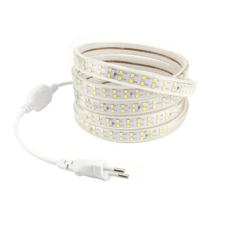 AC 220 V LED Strip Light Lamp Double Row Flexible Tube Lights Ruban with EU Plug 220 Vol ...