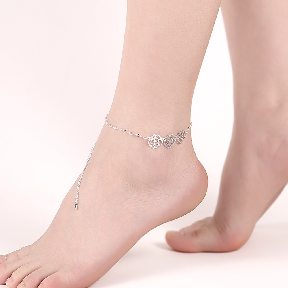 diylocket Rose Flower Anklet Bracelet Gold Silver plated Foot