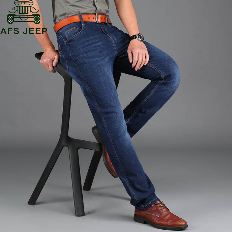 ФОТО AFS JEEP New Arrival Men's Jeans Straight Style Long Trousers Soft Skinny Jeans Men Big Size 30-44 Slim Fit Denim Overalls Men