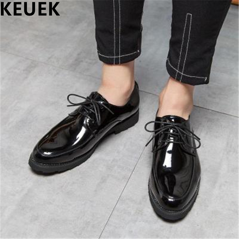 Black Lace Up Men Dress shoes Large size Luxury Fashion Derby Shoes Male Flats Casual leather