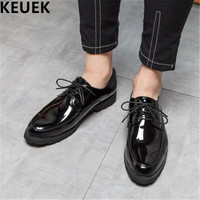 Black Lace Up Men Dress shoes Large size Luxury Fashion Derby Shoes Male Flats Casual leather shoes 061
