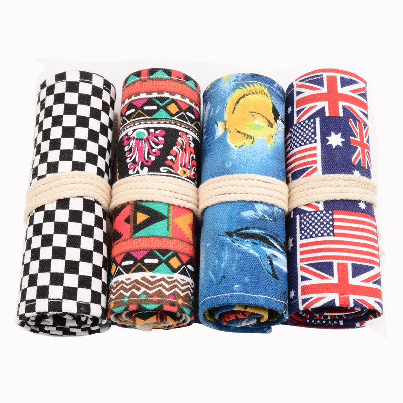 36/48/72 Holes Canvas Roll Up Colored Pencil Case Drawing Holder Colored Sketching Bag School Pencil Case Stationery magnetic buckle up pencil case