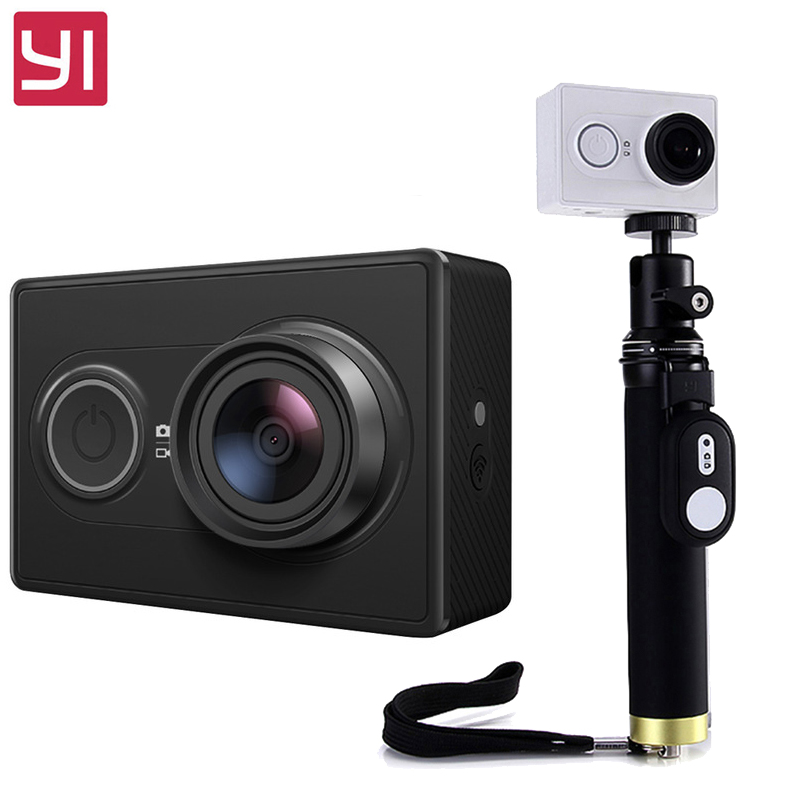 Yi Action Camera with selfiestick international Version Ambarella A7LS 155 1080P WiFi 3D Noise Reduction
