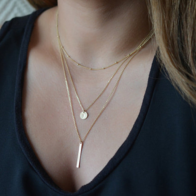 Multilayer Gold Silver Color Long Chain Pendant Necklace