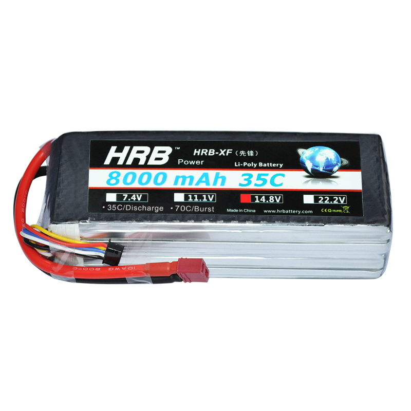 HRB RC <font><b>Lipo</b></font> Battery <font><b>4S</b></font> 14.8V <font><b>8000mah</b></font> 35C 50C for Traxxas RC Car Helicopter Airplane Boat with XT60-T Deans Connectors image