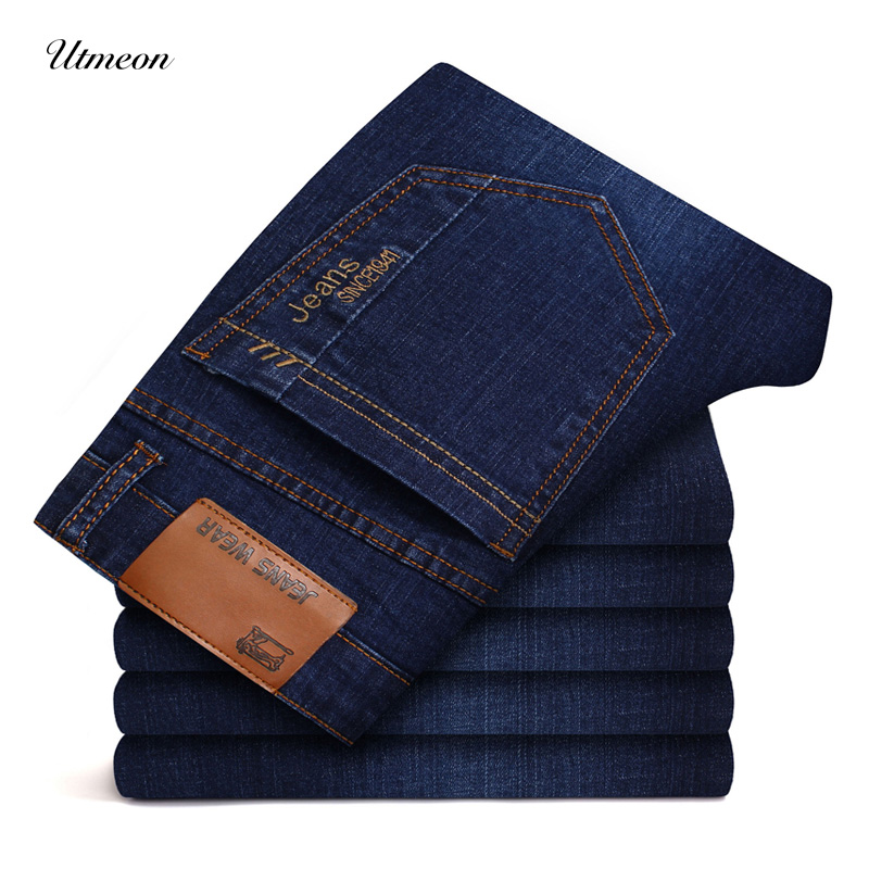 2019 New Men's Brand Stretch Jeans Business Casual Slim Fit Denim Pants Black Blue Trousers Jeans Male Plus Size 38 40 42